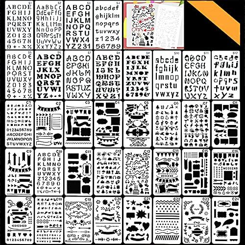Di Stampini Per Proiettili In Plastica Set, Bst4u Numero Di Lettera E Stencil Per Notebook, Diario, Album Per Pittura, Disegno, Accessori Artigianali(36PCS)