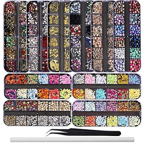 Ebanku 10 Scatole Kit di strass per unghie Nail Art Strass, Misti Colorati Borchie per Unghie Brillantini Gioielli Pailettes Cristalli Perle Gemme per Decorazione Unghie con 1 Pinzetta e 1 Penna