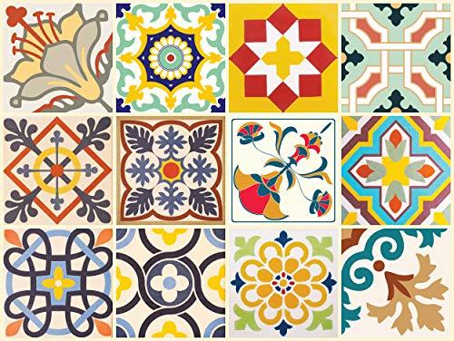 """The Nisha 24 PC """"Peel and Stick"""" Adesivo per Muri in Vinile Piastrella, Decals per la Cucina & Bagno in Stile Art Eclectic, Adesivi muro murali, 10x10 cm, Allegro"""