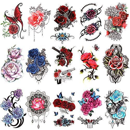 Qpout 15 pezzi Tatuaggi Temporanei di fiori per Donne, adesivi per tatuaggi a mezzo braccio, tatuaggi a farfalla con teschio e fiori di rosa,decorazioni per braccia tatuaggi per adulti ragazze bambini