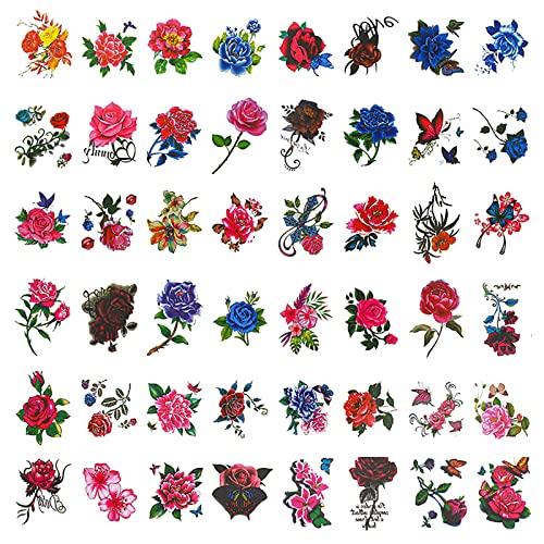 Lvjkes Tatuaggio Temporaneo Rosa, Adesivi per tatuaggi, 50 pezzi adesivi per tatuaggi temporanei sicuri impermeabili e durevoli per ragazze braccia spalle caviglie