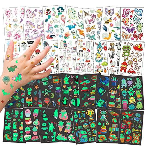 30 Fogli Tatuaggi Temporanei per Bambini, Tatuaggi Luminosi Set de Unicorno Sirena Farfalla Animale Dinosauro Pirata, Tatuaggio Tatuaggi Adesivi Impermeabili per Ragazze Ragazzi Feste