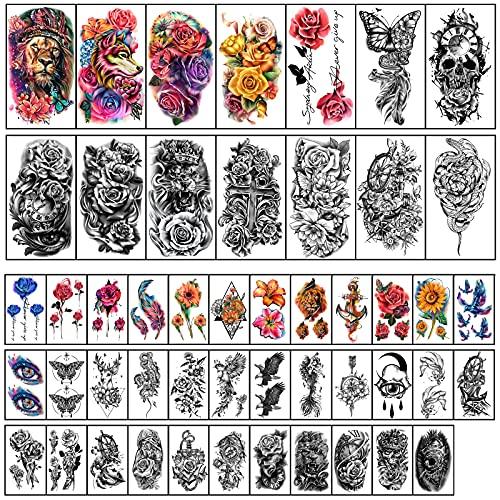 49 fogli grandi fiori colorati impermeabile tatuaggio temporaneo leone volpe aquila teschio farfalle mezzo braccio spalla tatuaggio adesivi corpo tatuaggi per donne e ragazze