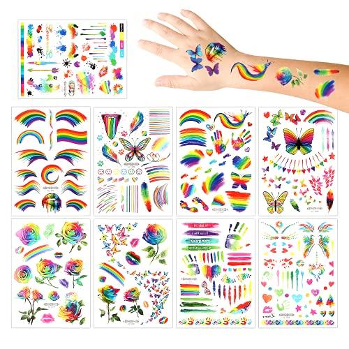 Tatuaggi Temporanei per Bambini, 8 Fogli Tatuaggi Set de Arcobaleno, Tatuaggi Finti temporanei Adesivi, Tatuaggi Finti per Ragazze Ragazzi, Tatuaggi per feste costume di halloween