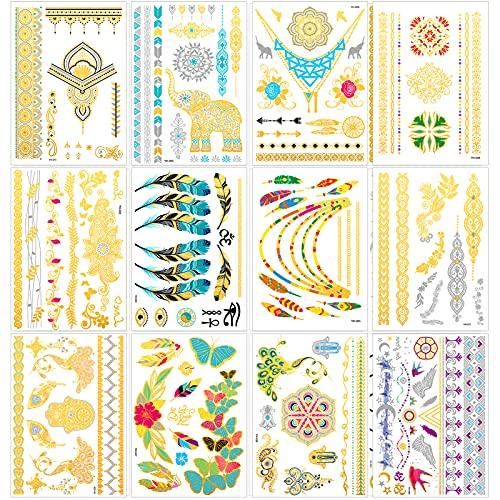 Qpout Tatuaggi Temporanei metallici per ragazze donne, tatuaggio con design glitter oro argento, gioielli totem tribale farfalla fiore elefante piuma tatuaggio impermeabile, decorazione viso braccio