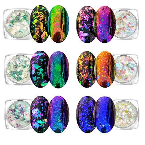 Flakes Iridescenti Polvere per Unghie Camaleonte Set da 6 Barattoli (Light Chameleon)