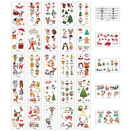 30 Fogli Tatuaggi Temporanei di Natale,Tatuaggio Autoadesivo di Natale per Bambini,Carino Impermeabili Falso Corpo Tattoos,per Calza Riempitivi Adulti Bambini Ragazza Natale Festa Regali Decorazioni