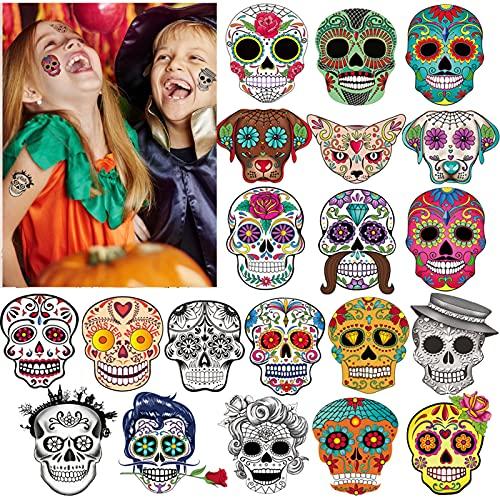 HOWAF Halloween Cranio Floreale Nero Scheletro Web Tatuaggi Temporanei Tattoos Adesivi Trucco per Bambini Festa di Halloween Compleanno Sacchetti Regalo Giocattolo (100 Pezzi)
