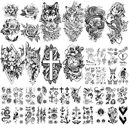 40 Fogli Grande Collezione di Fiori Tatuaggi Temporanei Impermeabili Tatuaggio Finto Duraturo per Donne e Ragazze.