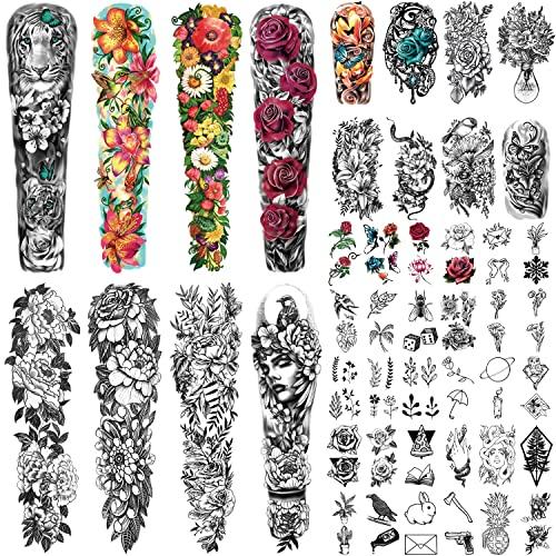 46 Fogli Extra Size Full Arm Temporary Tattoo per le Donne con Lion Lily Daisy Peony Rose, Mezzo Braccio Tatuaggi Temporanei per Ragazza con Farfalla Uccello Snake Jewel