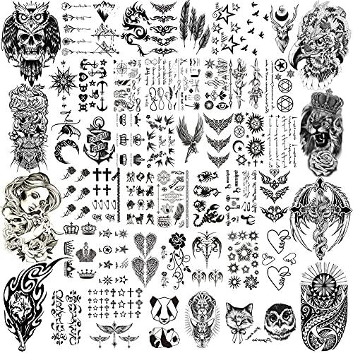 COTTONIX 52 Fogli Tatuaggi Temporanei Adulti Grande Piccolo, Impermeabili Tatoo Temporanei Tatuaggi Finti aquila draghi leone lupo animali luna Bussola musicale Linee di ancoraggio