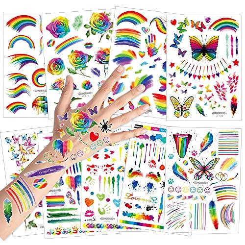 HOWAF Tatuaggi temporanei per Bambini, Farfalla Fiore Arcobaleno Tatuaggio Tattoos Adesivi Compleanno Gadget per Adulti Bambini Festa di Compleanno Regalo Giocattolo, 9 Fogli