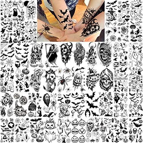 Shegazzi 52 Fogli Halloween Tatuaggi Temporanei Adulti Bambini Piccola E Adorabile Zucca Con Teschio Fantasma Kit Tatuaggi Finti Donna Uomo Autoadesivo Del Tatuaggio Della Mano Viso Collo Braccio Nero