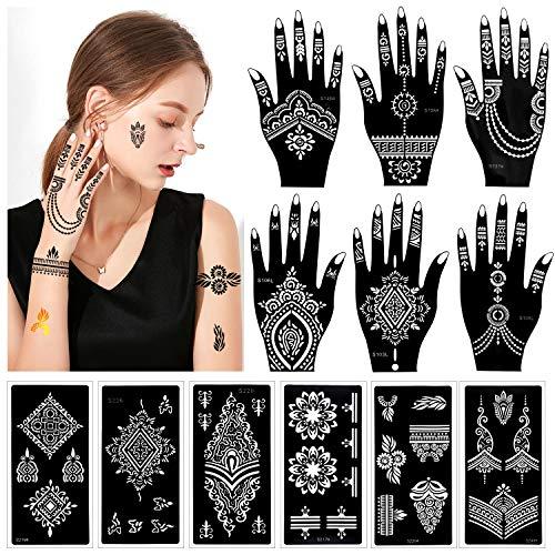 Konsait 12 Sheet Hand Body Tattoos Stencils Temporary Tattoo Templates for Hand Body Art Paint, Mandala Flower Indian Arabian Self Adhesive Tattoos Stickers Stencils for Women Girls Adult Teenager