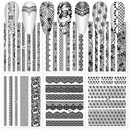 MWOOT 6 Fogli 3D Pizzo Nero Adesivi Unghie Nail Art Stickers, Autoadesivi Nail Art Decalcomanie Decorazione Unghie, Unghie Manicure le Punte Decorazioni