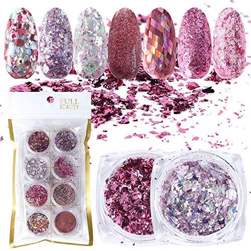 WLKK 8pcs Glitter per Unghie, Paillette in Alluminio Oro Rosa con Scaglie di Brillantini per Unghie Brillanti in Polvere per Smalto Gel per Unghie Paillette Mix Decorazione Manicure
