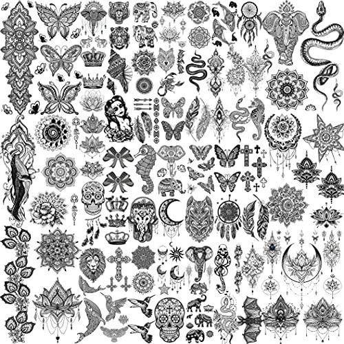 Shegazzi 58 Fogli Nero Tatuaggi Temporanei Adulti Donna Realistico Ciondolo Mandala Elefante Farfalla Loto Pizzo Kit Tatuaggi Finti Ragazza Gioielli Falsi Braccio Manica Mano Seno Adesivi Tatuaggio
