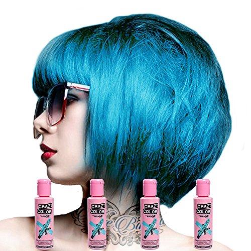 Crazy Colour - Renbow Tinta per capelli semi-permanente, Blu Chewingum No.62 (100ml) Scatola da 4