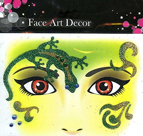 Körner Festartikel Love Art Decor Glitter Tattoo Sticker Love - Splendida Decorazione per Faccia a Carnevale, Compleanno, Festa a Tema (Geco)