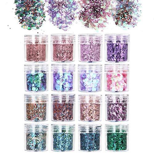 URAQT Glitter per Unghie, 16 Colori Glitter per Il Corpo di Bellezza, Glitter Cosmetici per 3D Corpo Decorazioni per Capelli, Viso, Unghie, Guance, Set B