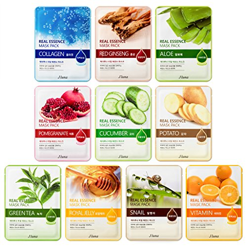 Jluna korea real essence facial sheet masks 10 pack - 10 different types of mask