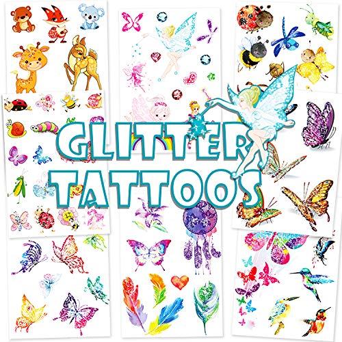 Qpout Glitter tatuajes temporales para niños, ciervos de dibujos animados hada mariposa abeja tatuaje temporal animales zoo tatuajes para niñas niños fiesta de cumpleaños fiesta regalo decoración