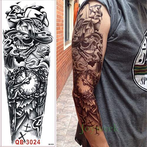 HXMAN 3pcs Impermeabile Temporaneo Tatuaggio Adesivo Pieno Braccio Grande Teschio Old School Tatto Adesivi Flash Tatoo Tatuaggi Falsi Per Gli Uomini Donne Ragazza 9 Monocromatica