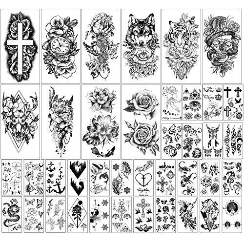Kaieteur 40 fogli Collezione di Fiori e Animali Tatuaggi Temporanei Impermeabili Tatuaggi Finti Duraturi per donne e Ragazze