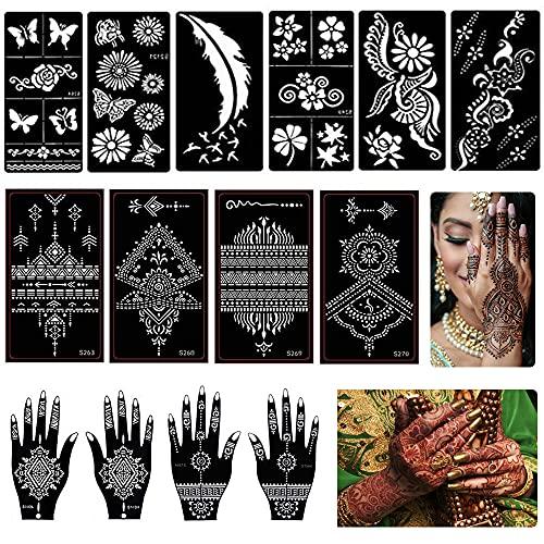 14 Foglio Kit Tatuaggi Temporanei Henné Stampino, Set Tempie Tatuaggi, Henné Arabi Corpo Mano Dita