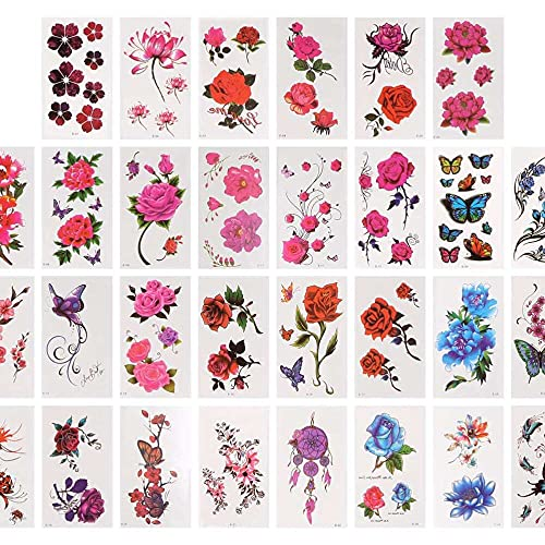 Yuyanshop - 60 fogli di tatuaggi temporanei con fiori di rosa, loto e ciliegio, impermeabili, per feste di Halloween, Natale, donne, adolescenti e ragazze