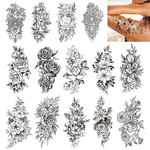 Peonia Rosa Tatuaggio ,14 Fogli Tatuaggi Temporanei del Grande Fiore Rosa Nero PeoniaRosa Tatuaggio Temporaneo Braccio FloraTatuaggi Temporanei Donne Adulti…