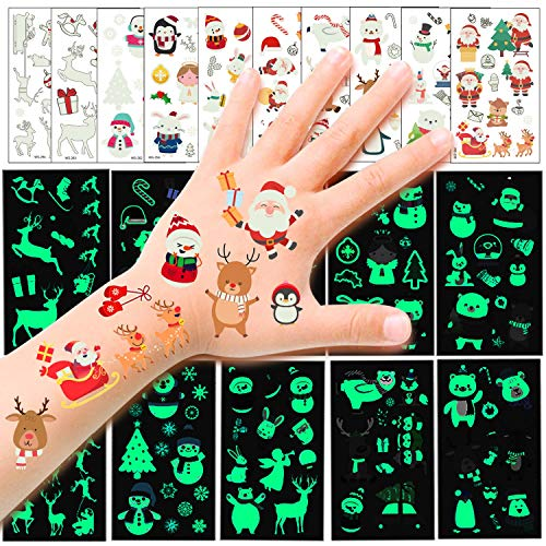 HOWAF110pcs Luminose Natale Tatuaggi temporanei per Bambini, Impermeabili Falso Tatuaggi Natale Tattoos per Bambini Regali, Natale Cosplay Decorazioni, Babbo Natale, Renna, Pupazzo di Neve