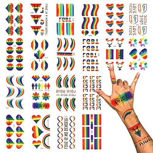 PHOGARY LGBT Gay Pride Tatuaggi Temporanei (100 pezzi, 20 fogli), Tatuaggi Arcobaleno, Decalcomanie per Vernici Impermeabili per Celebrazioni, Feste, Attività