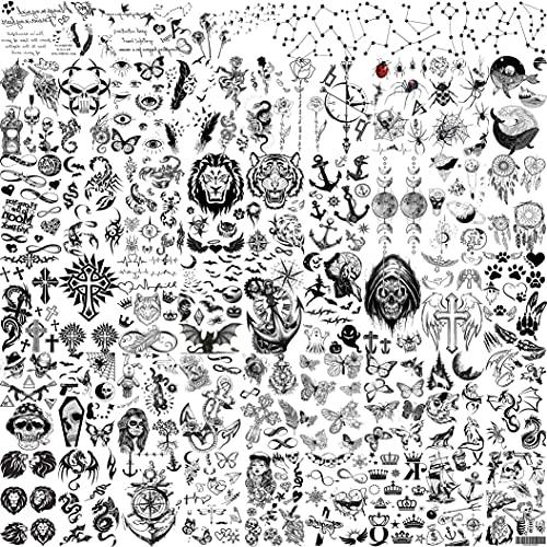 Shegazzi 52 Fogli Piccolo Tatuaggi Temporanei Adulti Donna Uomo Simpatica Piuma Corona Ancoraggio Incrociato Kit Tatuaggi Finti bambini Maschi Bambina Mano Viso Collo Dita Dito Adesivi per Tatuaggio