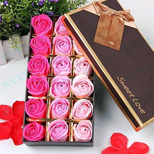 Gearmax 18pcs Rose Sapone Fiore Romantico Bagno Doccia Regali Decorazione Petali del Sapone di Nozze in Regalo Confezione per la Festa di Compleanno(Rosa)