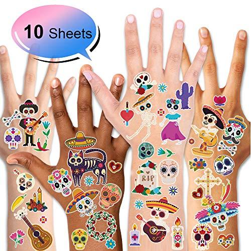 Konsait Messicano Halloween Tatuaggi Temporanei per bambini adulto, 10 fogli Cinco de Mayo Tatuaggio temporaneo Tattoo adesivi Cranio Scheletro carnevale Dia De Los Muertos party accessori decorations