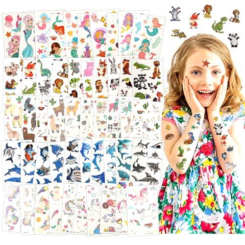 Tatuaggi Temporanei per Bambini, 50 Fogli Tatuaggi per Bambini, Tatuaggi Bambini Tatuaggi Adesivi Impermeabili, Simpatico Cartone Animato Tatuaggio Set Unicorno, Animale, Squalo, Alpaca e Sirena (50)