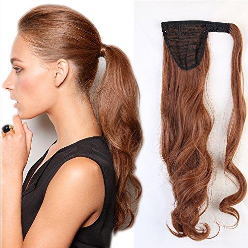 SEGO 43cm Extension Capelli Coda di Cavallo Clip in Hair Sintetici Mossi Ponytail Extension - Castano Ramato Chiaro