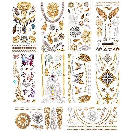 AIEX 11 Fogli Metallici Oro Argento Finti Temporanei Tatuaggi Impermeabile per Festa, Adulto, Donna (Farfalla, Elefante, Animale, Fiore, Croce)
