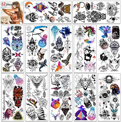 HOWAF 12 fogli tatuaggi temporanei per donna, adulti, uomini, bambini, gufo uccello farfalla animale lupo teschio piuma adesivi impermeabile tatuaggio temporaneo