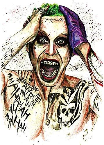 Tatuaggio non permanente KM141 con disegno colorato Joker, per braccio