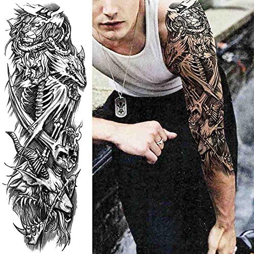tzxdbh Tatuaggio temporaneo Tribale Maori Uomini e Donne Adesivi Tatuaggio Lupo Leone Adulto Tiki Nero Grande Tartaruga Tatuaggio forniture-GTQB220