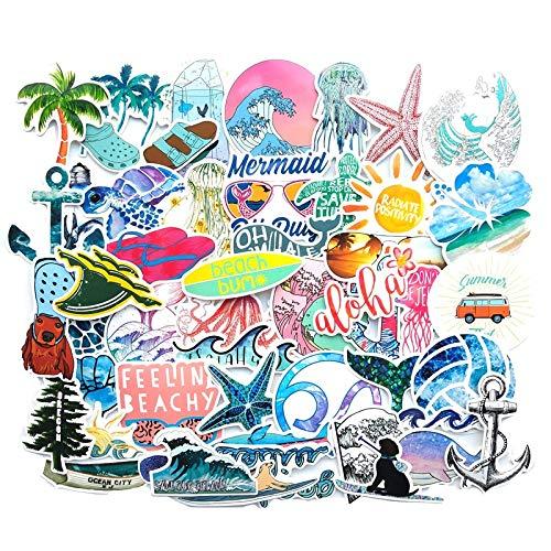 HENJIA Pacchetto Adesivi panoramici Sole Estivo Graffiti Giocattolo Onda di Mare Spiaggia Bambini su Valigia Valigia Chitarra Computer Portatile 50 Pz