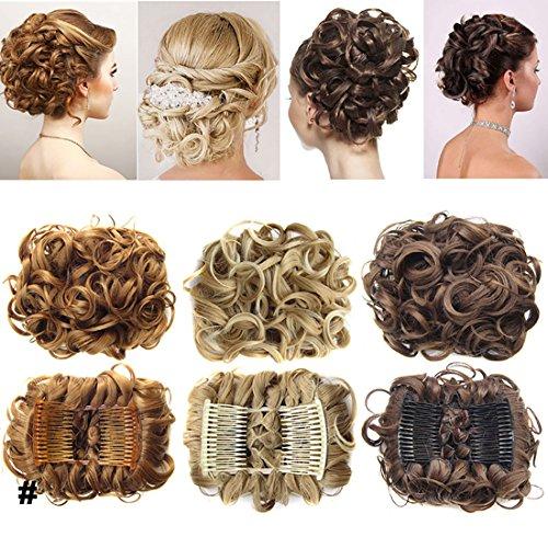 Hair Extension clip capelli veri Scrunchy Scrunchie Updo per capelli chignon-Extensions Pettini Coda di cavallo parrucchino Da marrone scuro a castano chiaro