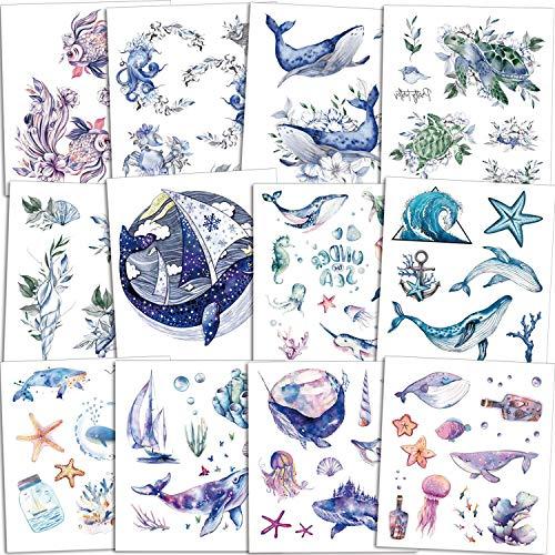 Qpout 120pcs Tatuaggi temporanei di animali oceanici per bambini, falso animale di mare oceano tropicale pesci squalo delfino adesivi tatuaggio impermeabile festa di compleanno di ragazze ragazzi