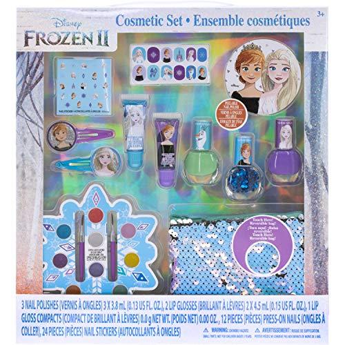 Disney Frozen - Townley Girl Set per il rifacimento con oltre 20 pezzi, inclusi lucidalabbra, smalto per unghie, unghie a pressione, adesivi per unghie e borsa con paillettes reversibile