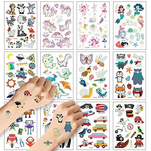 ZERHOK 12 Fogli Tatuaggi Temporanei per Bambini,Adesivi Tatuaggio Animale Fata Dinosauri Uicorni e Vari Animali Brillano al Buio per Le Feste di Compleanno