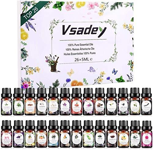 VSADEY Oli Essenziali per Diffusori Top 26 Set Regalo 100% Puri e Naturale Olio Essenziale di Aromaterapia per Diffusore, Umidificatore, Massaggio, SPA