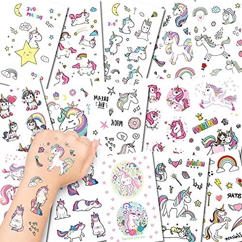 Amteker 295 Pezzi Unicorno Tatuaggi Temporanei Bambini - Tatuaggi Bambini Finti Adesivi Giocattoli Gadget per Ragazza Bambini Adulti Festa Compleanno Impermeabile Tatuaggio Temporaneo (16 Fogli)