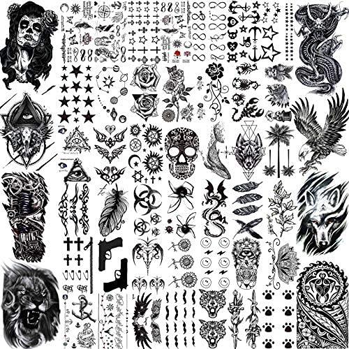 XXCKA 50 Fogli Tatuaggi temporanei Neri Uomini Adulti Aquila Drago Leone Lupo Animali, Piccoli Tatuaggi temporanei Donne Collo Braccio, Adesivi Tatuaggio Teschio Bambini